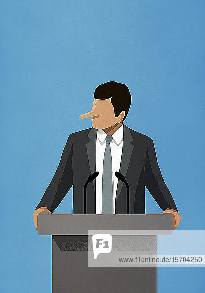 Lying politician with long nose speaking at podium