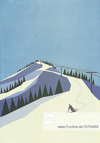 Skifahrer  der einen verschneiten Berghang hinunterfährt