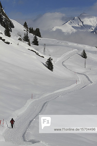 Snowshoer on sunny snow covered mountain trail  Vals  Canton of Grisons  Switzerland