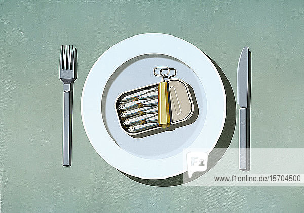 Sardinendose auf Teller