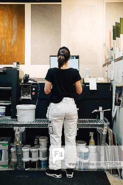 Rückansicht eines weiblichen Mitarbeiters  der einen Computer im Laden benutzt