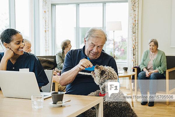 Lächelnde Krankenschwester betrachtet älteren Mann  der einen Hund im Altenheim füttert