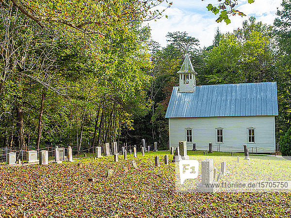 Old church  Cades Cove  Great Smoky Mountains National Park  Tennessee  United States of America  North America