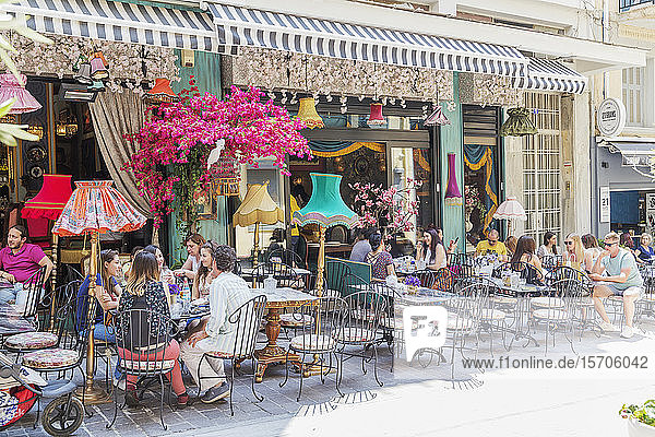 Bar and cafe terraces in Plaka district  Athens  Greece  Europe