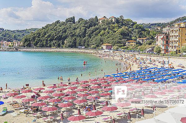 Beach  elevated view  Lerici  La Spezia district  Liguria  Italy  Europe