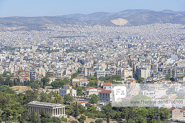 Elevated view of Temple of Hephaestus and the city of Athens  Athens  Greece  Europe
