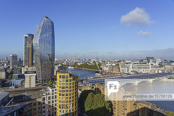 Blackfriars Bridge  River Thames and city skyline including tall glass tower  One Blackfriars (The Vase)  London  England  United Kingdom  Europe