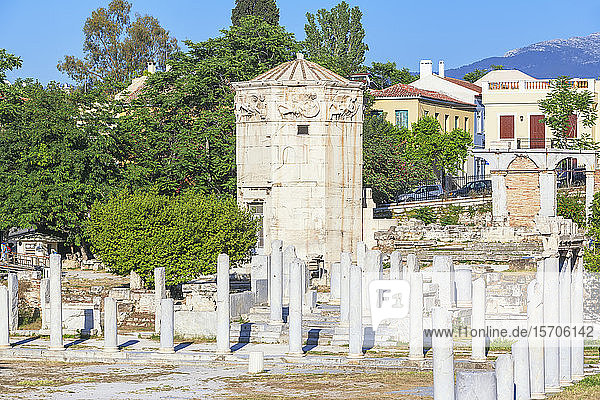 Remains of the Roman Agora and Tower of Winds  Athens  Greece  Europe