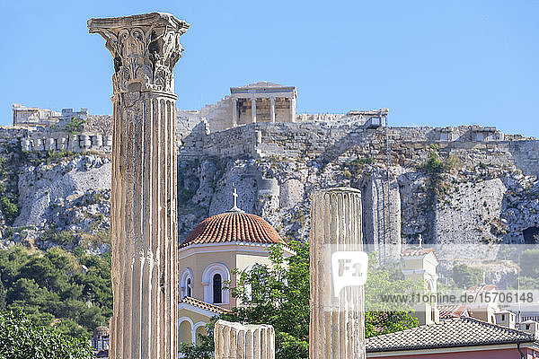 Acropolis including Library of Hadrian columns  Athens  Greece  Europe