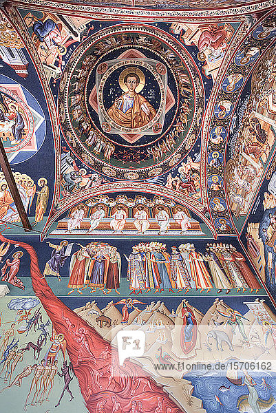 Frescoes  Last Judgement  New St. George Church  dating from 1705  Old Town  Bucharest  Romania  Europe
