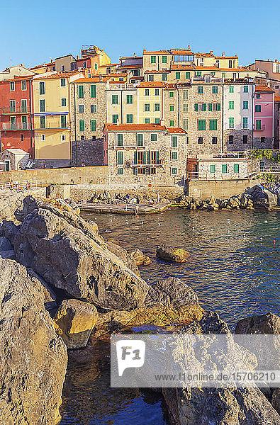 View of Tellaro village,  Lerici,  La Spezia district,  Liguria,  Italy,  Europe