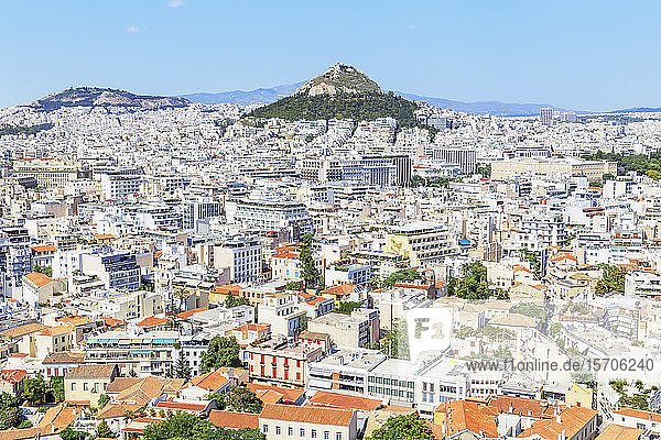 High angle view of Athens city centre  Athens  Greece  Europe