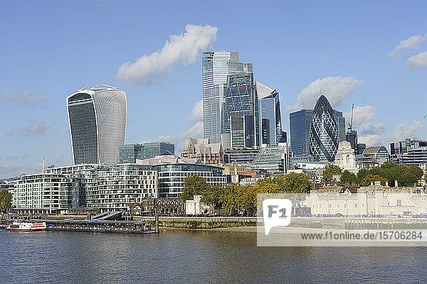 City of London skyscrapers viewed across the River Thames  London  England  United Kingdom  Europe