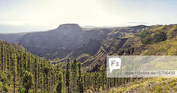 Spanien  Kanarische Inseln  La Gomera  Panoramablick auf den Tafelberg vom Gipfel der Garajonay-Felsformation aus gesehen