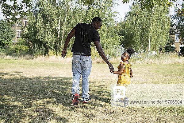 Rückansicht eines Vaters und einer Tochter  die Hand in Hand in einem Park spazieren Rückansicht eines Vaters und einer Tochter, die Hand in Hand in einem Park spazieren