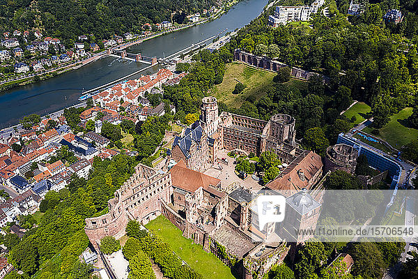 Germany  Baden-Wurttemberg  Aerial view of Heidelberg with castle and river Neckar