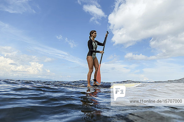 Female SUP surfer  Bali  Indonesia