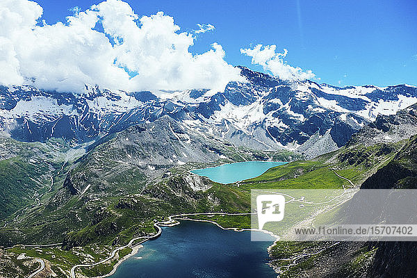 Italy  Piedmont  Gran Paradiso National Park  High angle view of Italian Alps and lakes
