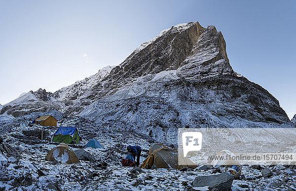 Swiss Camp  Chonbarden Glacier  Dhaulagiri Circuit Trek  Himalaya  Nepal