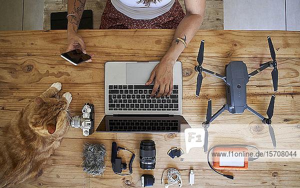 Am Tisch sitzende Person mit Fotoausrüstung und rothaariger Katze  mit Laptop  Draufsicht