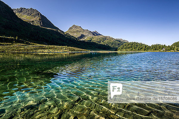 Austria  East Tyrol  Clear transparent lake in Defereggen Valley