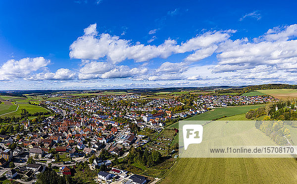 Germany  Baden-Wurttemberg  Neresheim  Aerial view of city and fields