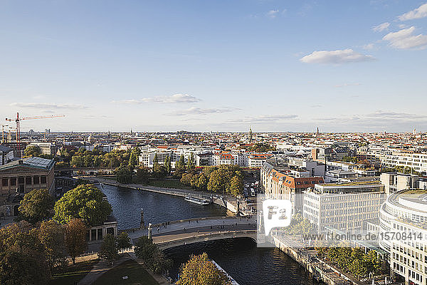 Germany  Berlin  Aerial view of Friedrichs Bridge  river Spree  James Simon Park and Hackescher Markt