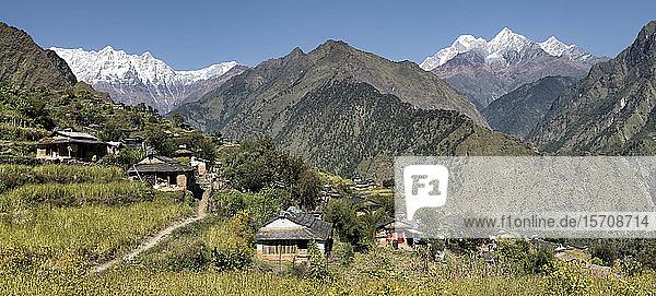 Dobang mit den Dhaulagiri-Bergen  Dhaulagiri-Rundwanderung  Himalaya  Nepal
