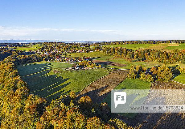 Germany  Bavaria  Upper Bavaria  Dorfen  Aerial view of green fields