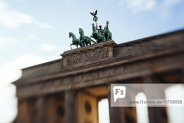 Germany  Berlin  Quadriga statue on top of Brandenburg Gate