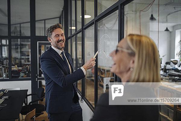 Geschäftsmann und Geschäftsfrau betrachten Zeichnung auf Glasscheibe im Büro