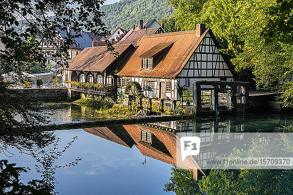 Deutschland  Baden-Württemberg  Blaubeuren  Landhäuser  die sich im glänzenden Fluss spiegeln