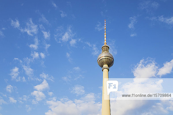 Germany  Berlin  Low angle view ofBerlin TV Tower standing against clouds