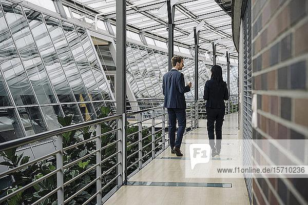 Rückansicht eines Geschäftsmannes und einer Geschäftsfrau beim Betreten eines modernen Bürogebäudes