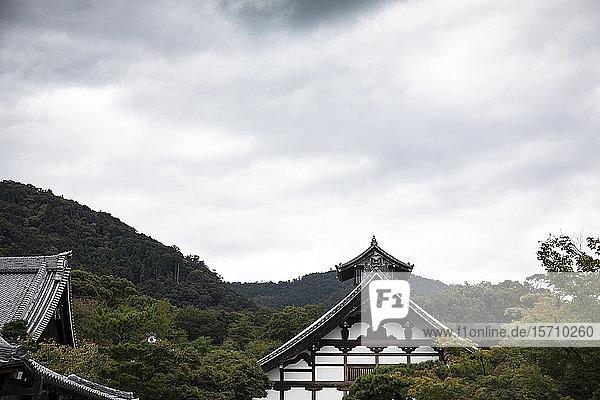 Japan  Präfektur Kyoto  Stadt Kyoto  Dächer eines buddhistischen Tempels gegen einen bewaldeten Hügel