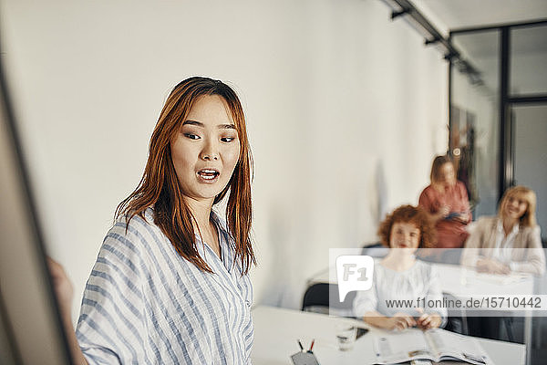 Businesswoman leading a workshop in conference room