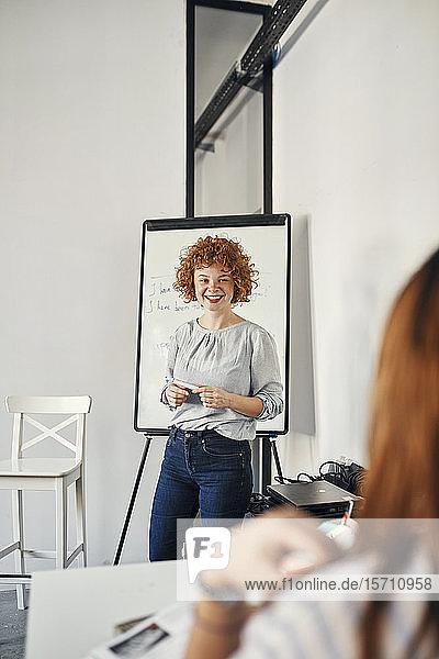 Lächelnde Geschäftsfrau leitet eine Präsentation am Flipchart im Konferenzraum