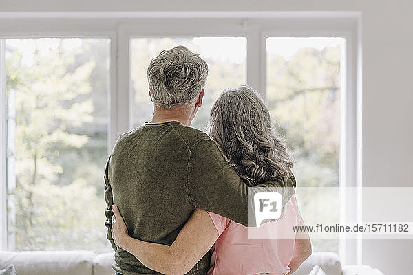 Rear view of senior couple looking out of window at home