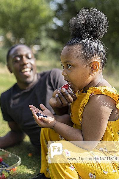 Glückliche Vater und Tochter essen Obst auf einer Wiese in einem Park