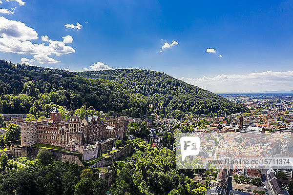 Germany  Baden-Wurttemberg  Aerial view of Heidelberg with castle