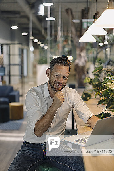 Portrait of smiling mature businessman using laptop in modern office lounge