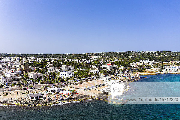 Italy  Apulia  Salento peninsula  Lecce province  Aerial view of Santa Maria di Leuca with harbor