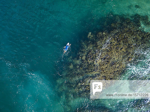 Aerial view of surfer  Sumbawa  Indonesia