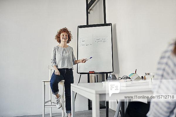 Lächelnde Geschäftsfrau führt eine Präsentation am Flipchart im Konferenzraum