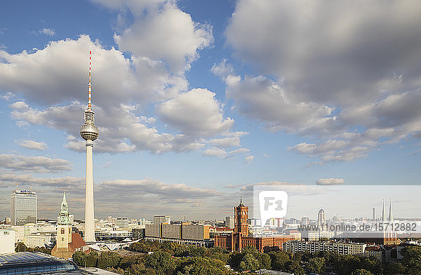 Germany  Berlin  Clouds over Berlin TV Tower and surrounding city buildings