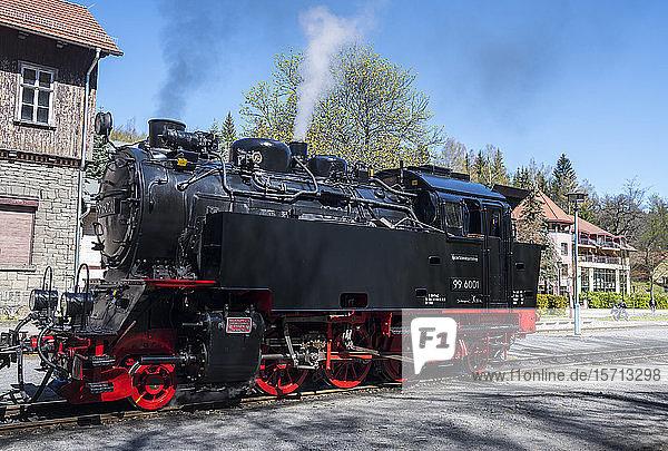 Germany  Saxony-Anhalt  Quedlinburg  Steam locomotive waiting at railroad station