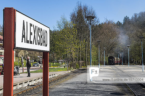 Germany  Saxony-Anhalt  Quedlinburg  Information sign standing between railroad tracks with steam train leaving in background