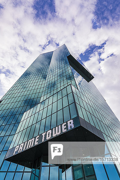 Switzerland  Canton of Zurich  Zurich  Low angle view of Prime Tower