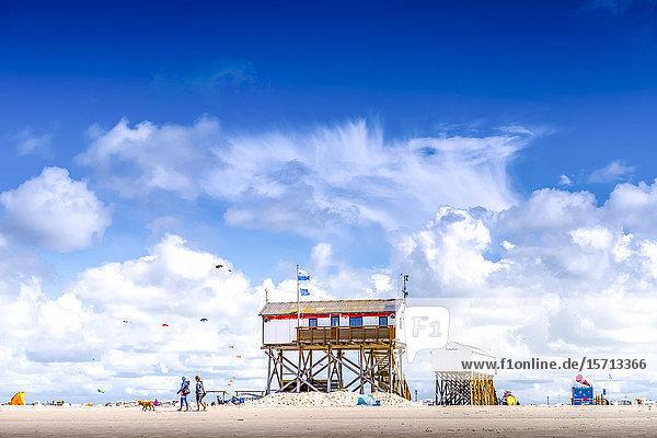 Stilt huts at beach  Sankt Peter-Ording  Schleswig-Holstein  Germany  Europe