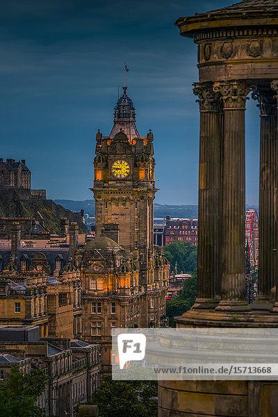 Balmoral Hotel and Scott Monument  Calton Hill  Edinburgh  Scotland  Europe